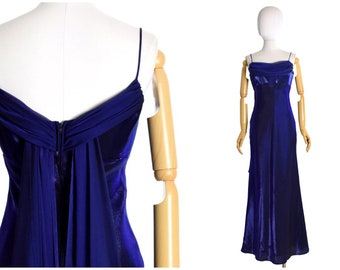 Glamour Sexy Fitted Evening Dress Party Dress UK 8 1990s Navy Maxi Vintage.
