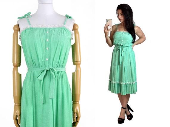 1970s green sundress | vintage prairie dress | 70s
