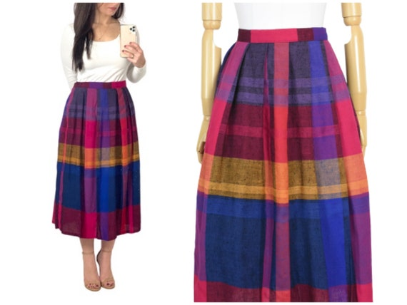 1980s rainbow plaid midi skirt | vintage rainbow s