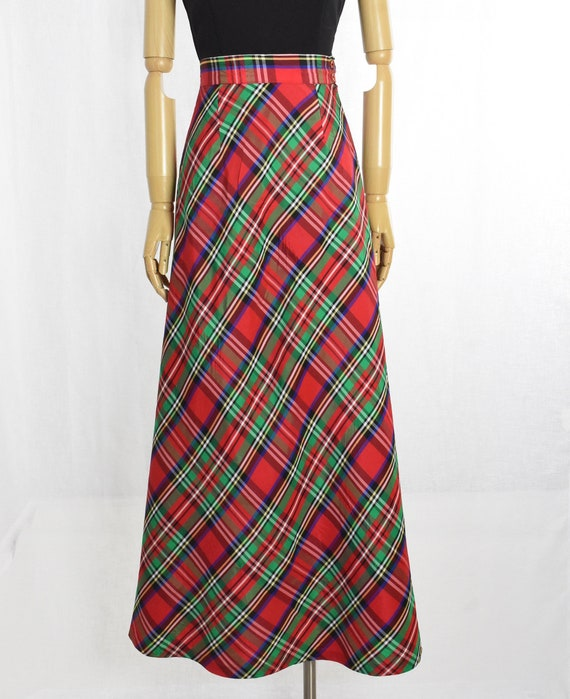 1970s red plaid maxi skirt   holiday maxi skirt  … - image 5