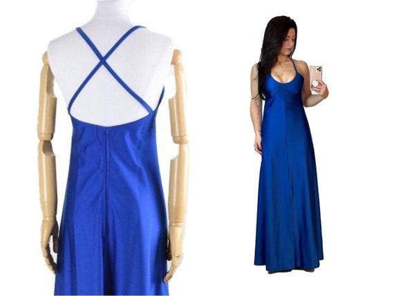 1970s blue prom dress | backless prom dress | 1970