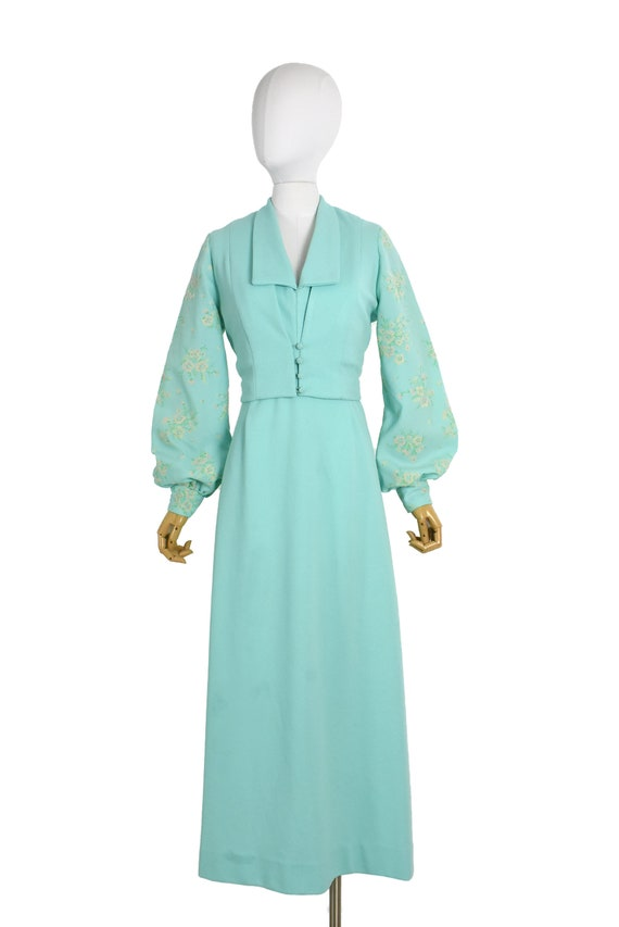 1970s aqua cut out back maxi dress and bolero set… - image 4