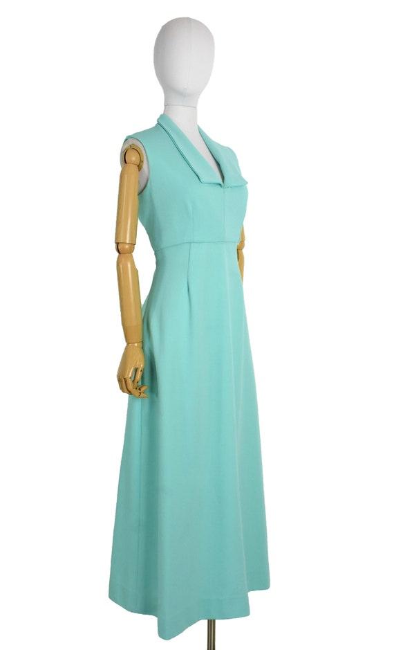 1970s aqua cut out back maxi dress and bolero set… - image 6