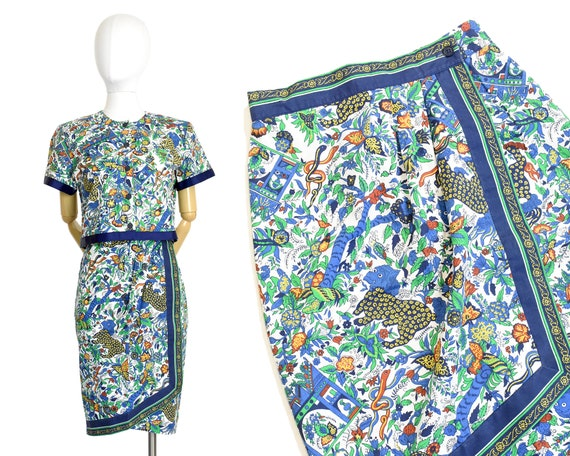 1980s fu dog novelty print skirt set | foo dog pri