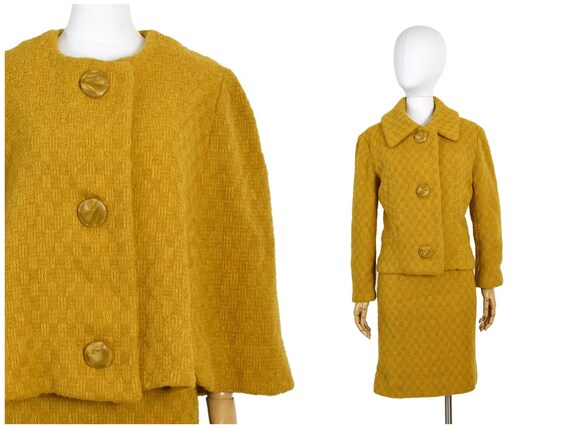 1960s 70s mustard 3-piece skirt set | three piece