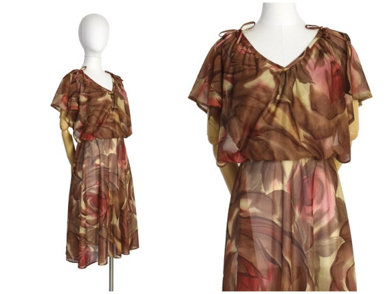 1970s brown rose print flutter sleeve dress | disc
