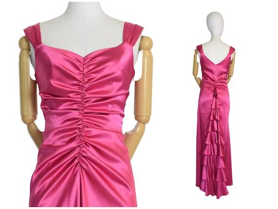 1930s style pink ruffled evening dress | gunne sax