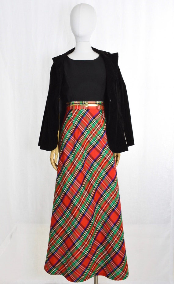 1970s red plaid maxi skirt   holiday maxi skirt  … - image 4