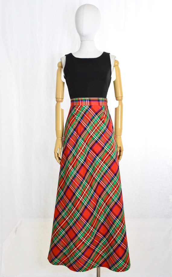 1970s red plaid maxi skirt   holiday maxi skirt  … - image 3