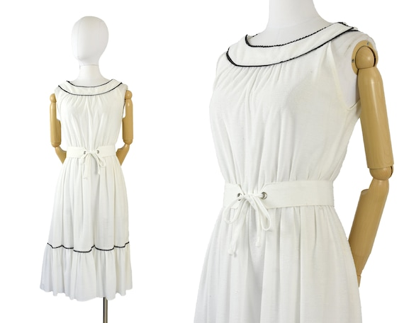 1970s white black prairie sundress | white belted