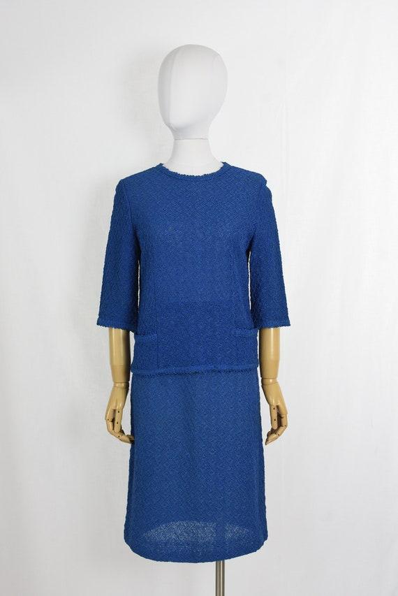 Vintage 60/'s Susan Thomas Jackie Kennedy Style Two Piece Skirt Set 1960/'s Seafoam Blue Nubby Knit Irish Linen Matching Set Mad Men Women/'s 6