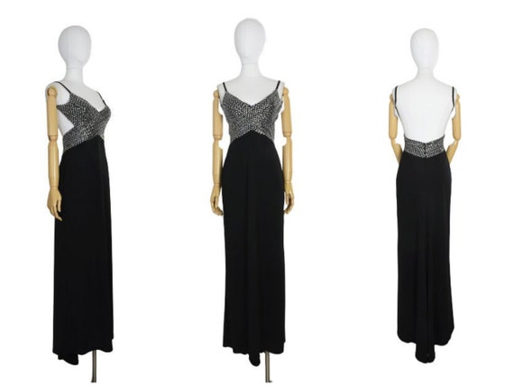1990s cache backless black evening dress | cache s