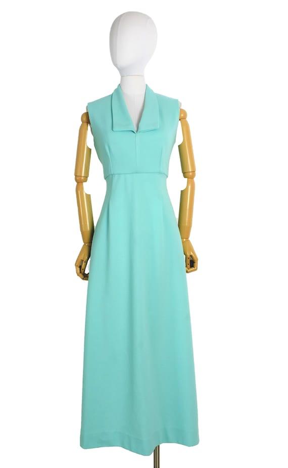 1970s aqua cut out back maxi dress and bolero set… - image 2