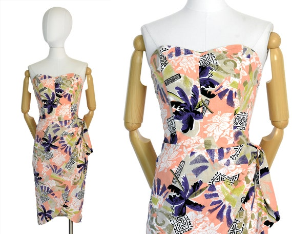 1980s tropical sarong dress | strapless floral sar