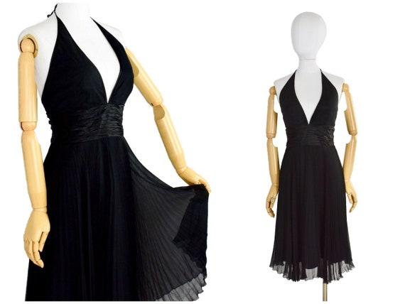 vintage black pleated halter dress | laundry shell