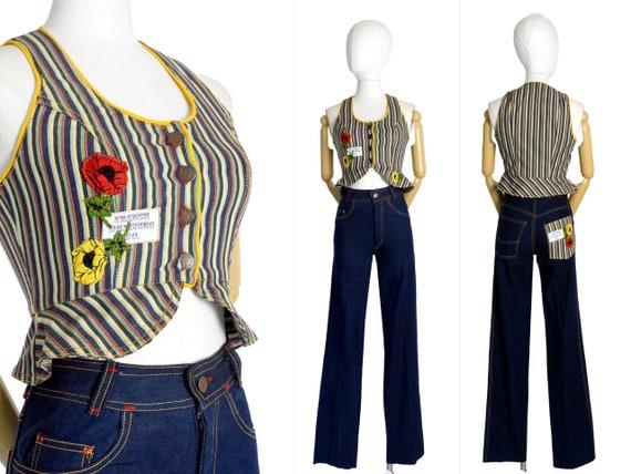 1970s dark denim long pant set   floral striped de