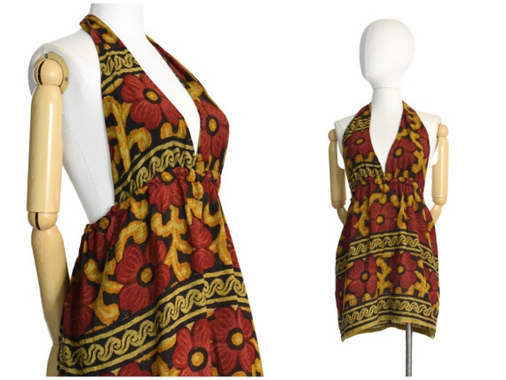 1960s 70s india cotton floral micro mini dress | m