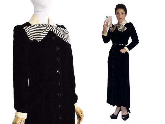 1930s black velvet shirtwaist dress | 30s striped