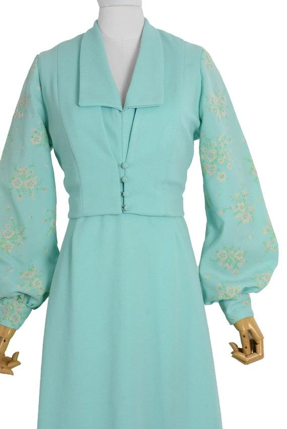 1970s aqua cut out back maxi dress and bolero set… - image 5