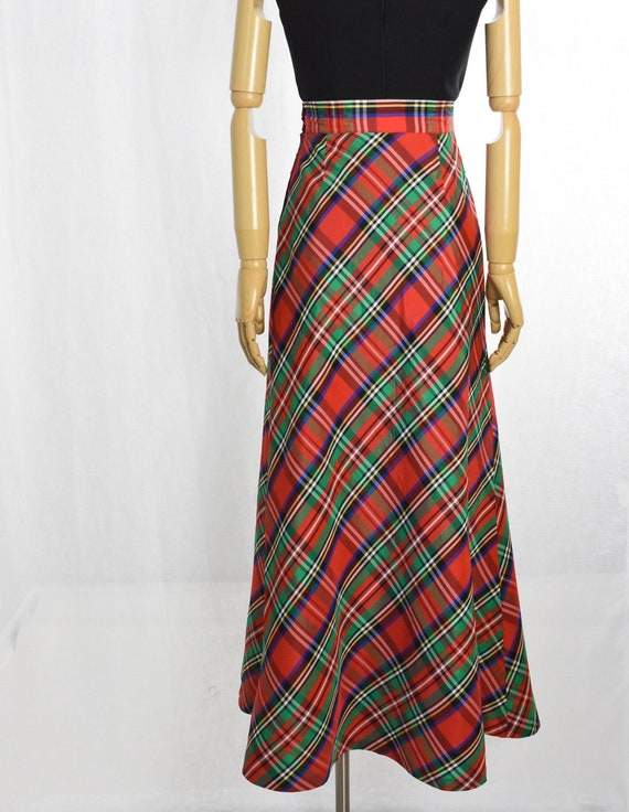 1970s red plaid maxi skirt   holiday maxi skirt  … - image 7