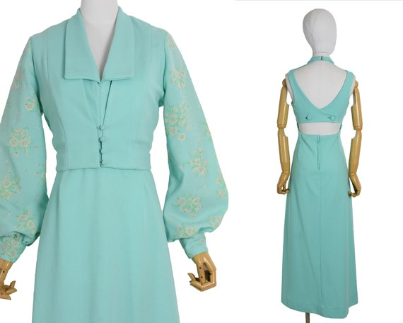 1970s aqua cut out back maxi dress and bolero set