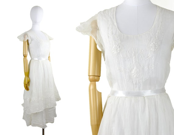 1930s sheer organza dress | winter white dress | e