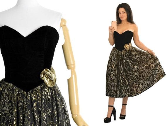 1980s black gold lurex prom dress | gunne sax prom