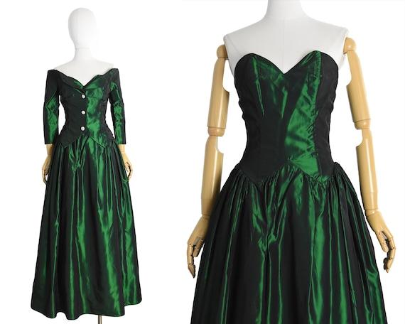 1980s iridescent emerald green prom dress | ball g