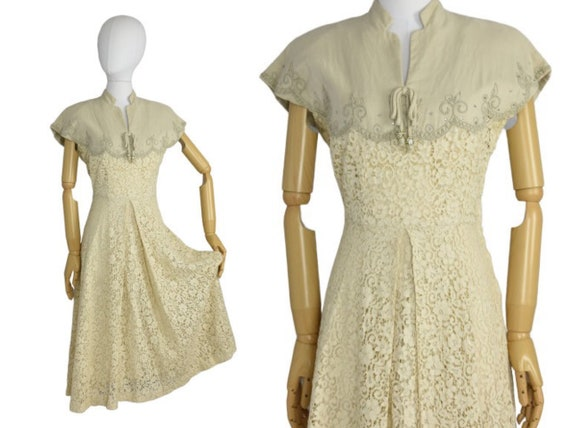 1940s cream lace and rhinestone dress | vintage dr