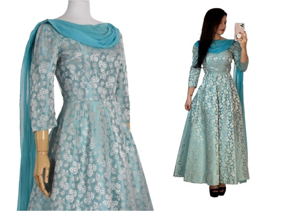 1950s blue brocade evening dress   vintage prom dr