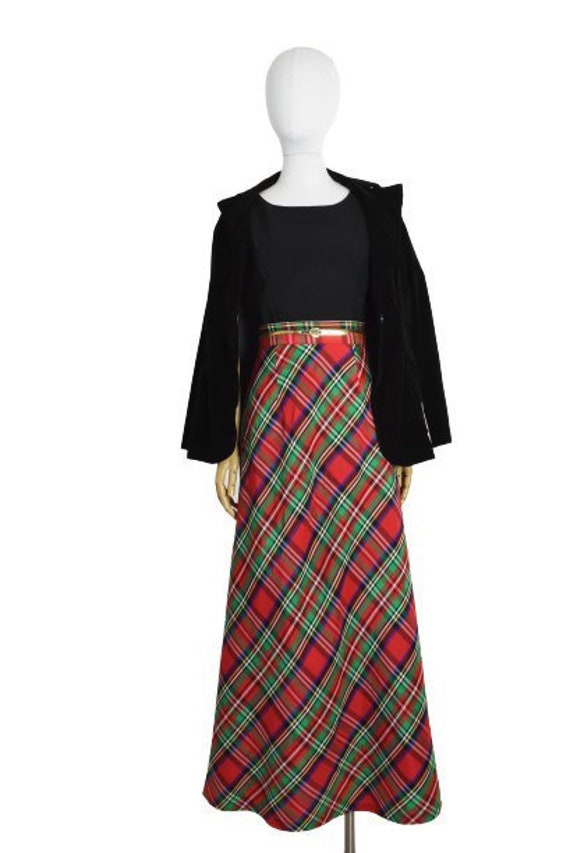 1970s red plaid maxi skirt   holiday maxi skirt  … - image 8