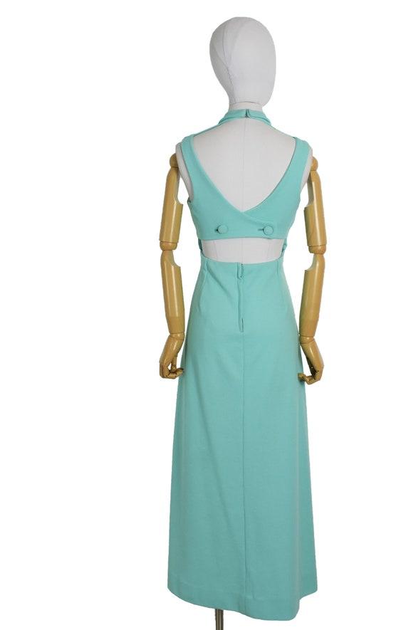 1970s aqua cut out back maxi dress and bolero set… - image 8