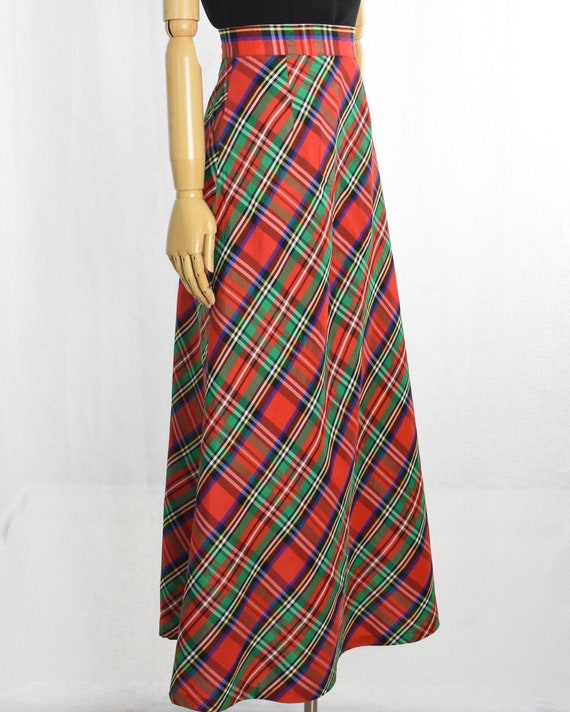 1970s red plaid maxi skirt   holiday maxi skirt  … - image 6