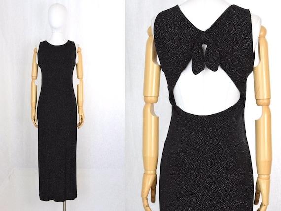 1990s metallic cutout backless slip dress | metall