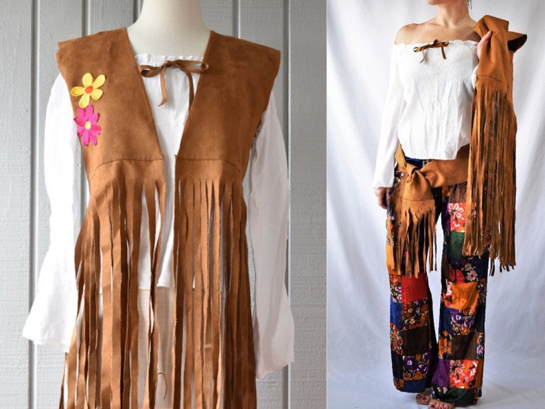 835385b1842 60s Flower Child Costume Hippie Costume Patchwork Bell