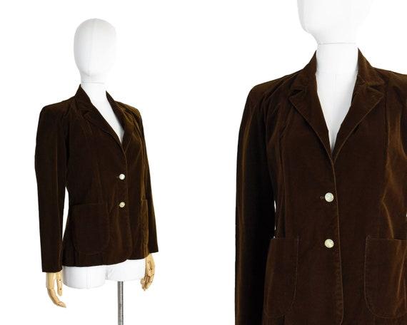 Vintage 1970s St Michael label Mod Hippie Black Cord Corduroy Blazer Suit Jacket Small
