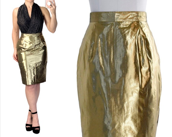 80s metallic gold pencil skirt with pockets | gold