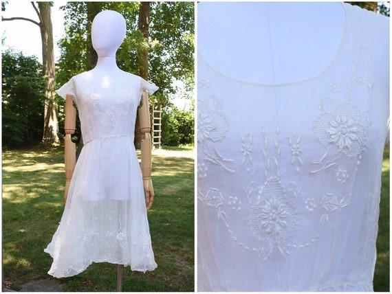 1930s sheer organza dress | winter white dress | … - image 9