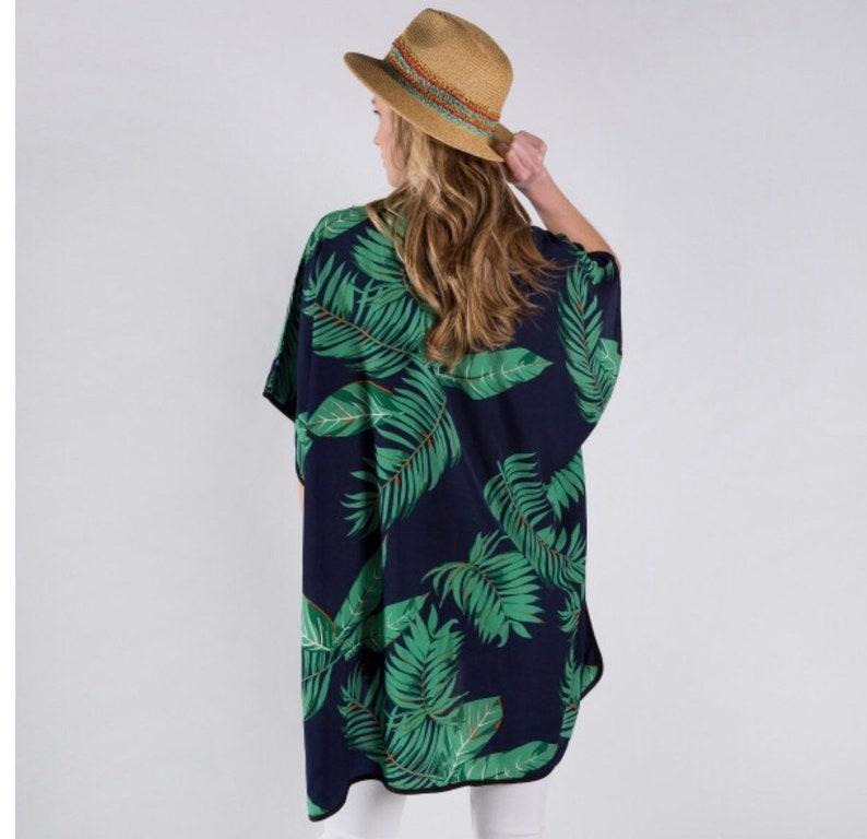 Navy Blue Kimono with Palm Tree Leaves