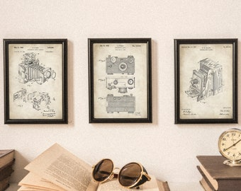 Printable Antique & Vintage Camera Patents - Set of 3  - Perfect Gift for Photographers - Camera Wall Art - 2 Variations -  DIGITAL DOWNLOAD