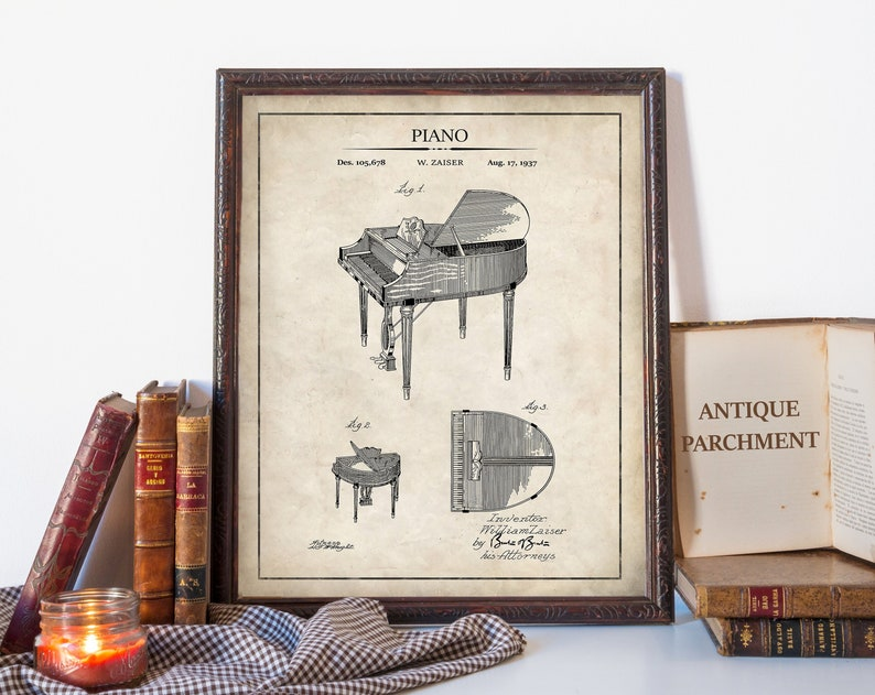 Piano Patent Print Vintage Piano Wall Decor Perfect Gift For Pianists Printeddigital