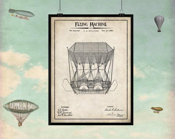 Vintage flight patent Flight memorabilia Steampunk Air Machines  Early flight art Steam punk Vintage Airship