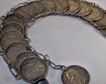 Vintage Mexican Sterling Silver Coin Bracelet