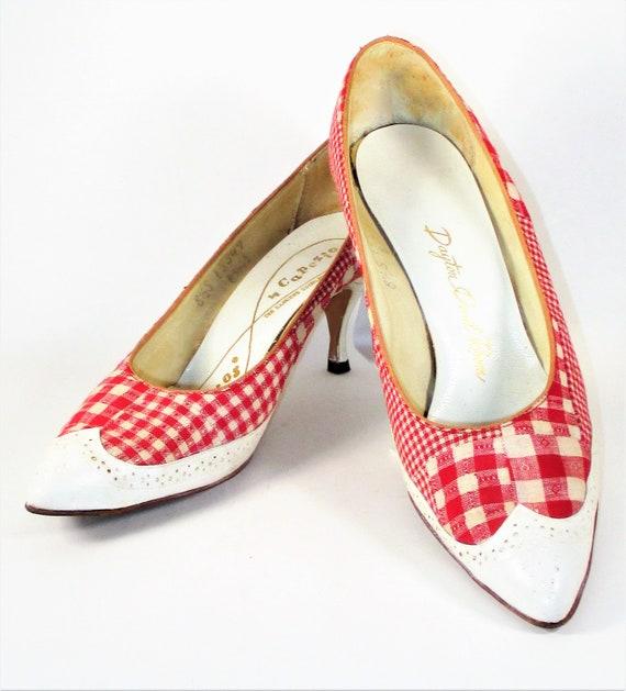 Vintage 1960's Red Gingham Heels