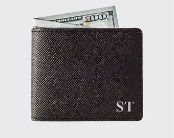 Personalized Leather Bifold, Monogram, Initials, Minimalistic Bifold wallet | Slim Leather Wallet Bifold DARK BROWN |