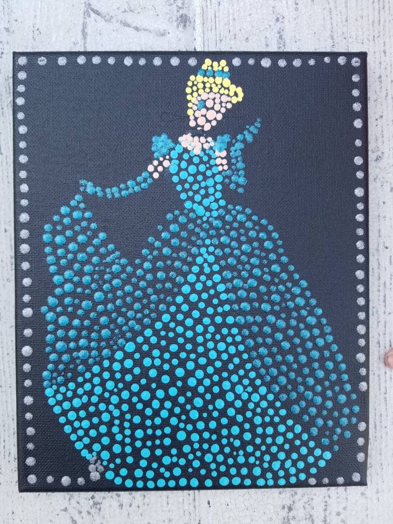 Princess Blue Dress Dot Art Painting 8x10 Inch Canvas Etsy