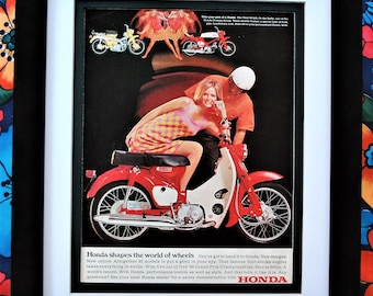 1967 Honda Trail Bike Rally Motorcycle Vintage Print Ad Framed Unframed Or Matted Only