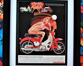 1967 Honda Trail Bike Rally Bike Motorcycle Vintage Print Ad Framed Unframed or Matted Only - FREE SHIPPING