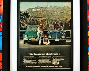 1972 VW Bug Champion Sparkplugs Framed Unframed or Matted Only Vintage Print Ad - FREE SHIPPING