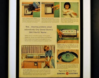 1960 General Electric Pink Filter-Flo Washer Vintage Print Ad - Framed, Unframed or Matted - FREE SHIPPING